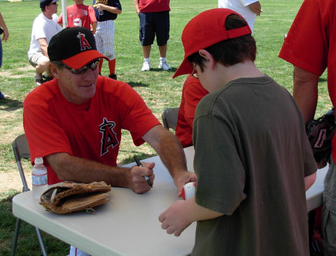 My son at an Angels clinic, 2007