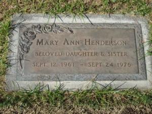 Mary Ann Henderson's Memorial Marker