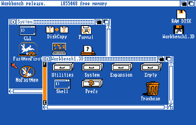 Amiga Workbench 1.3 (circa 1987) from Wikipedia