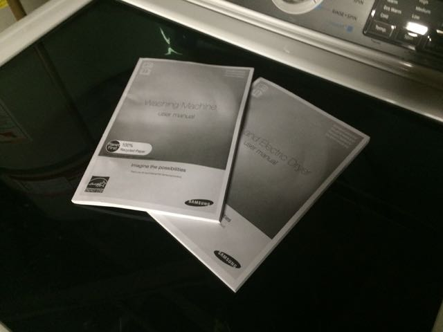 Manuals for a Samsung washer and dryer