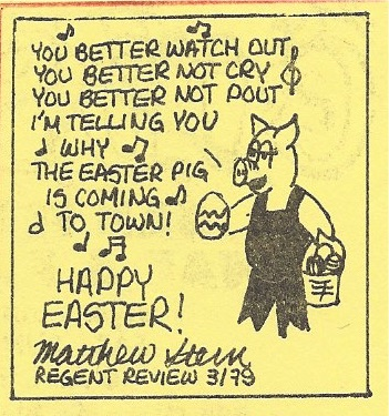 """Easter Pig"" cartoon from 1979"