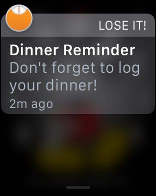 LoseIt reminder on Apple Watch