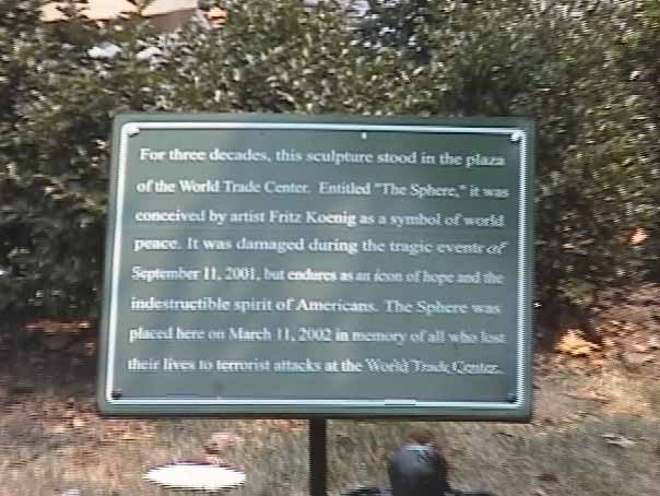 World Trade Center Sphere Plaque