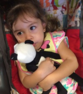 Arianna Stern with panda doll