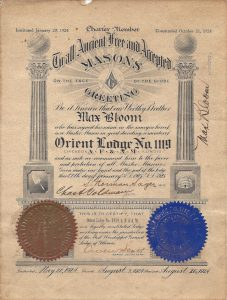 Mason Certificate from 1925