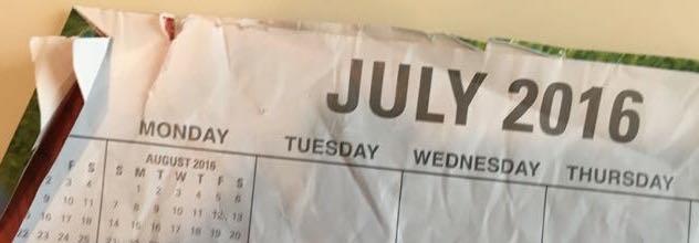 A crumpled 2016 calendar
