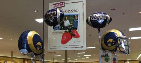 A display of Rams balloons at a local supermarket