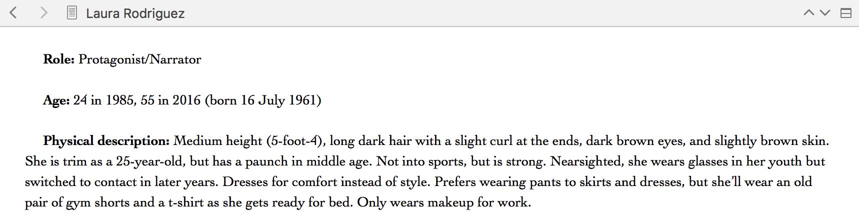 Sample of a character description in Scrivener
