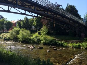 Bridge over the Dreisam River in Freiburg, Germany