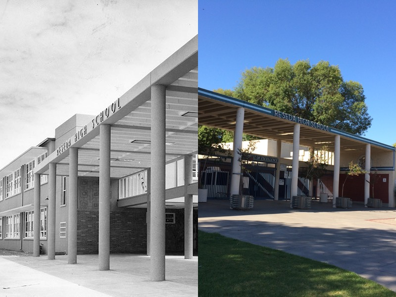 Reseda High School front gate in 1955 and 2014