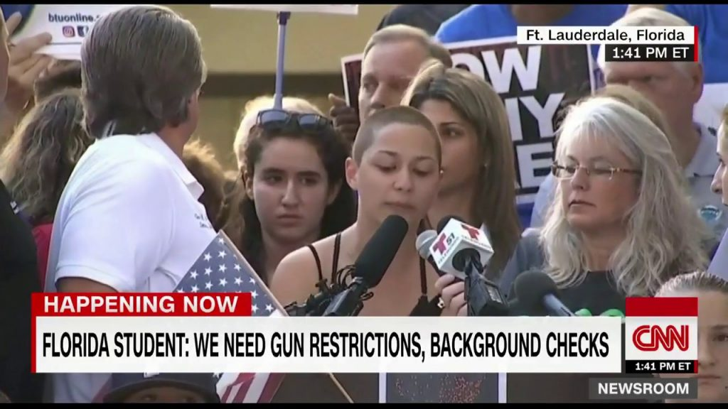 Emma González speaking at a rally after the Stoneman Douglas shooting
