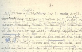 Marked up manuscript from George Orwell's 1984