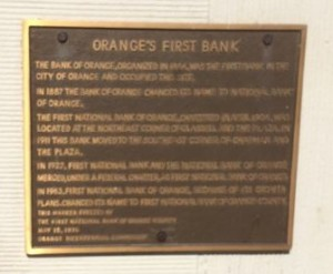 Plaque listing the history of the bank to 1887.