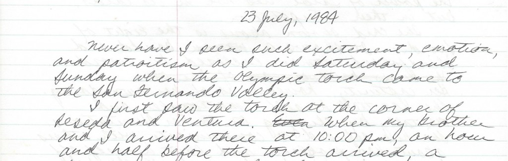 My personal journal about the 1984 Olympic torch relay