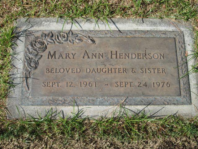 Mary Ann Henderson grave marker