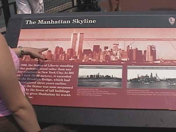 Lower Manhattan sign with World Trade Center