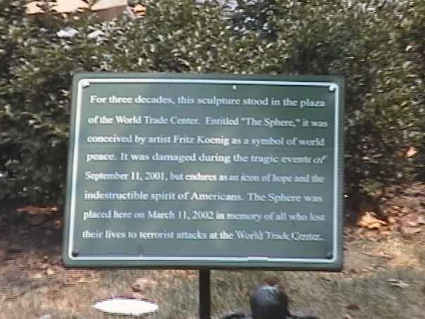 World Trade Center Sphere Plaque