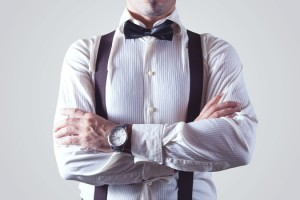 Man in bow tie and suspenders