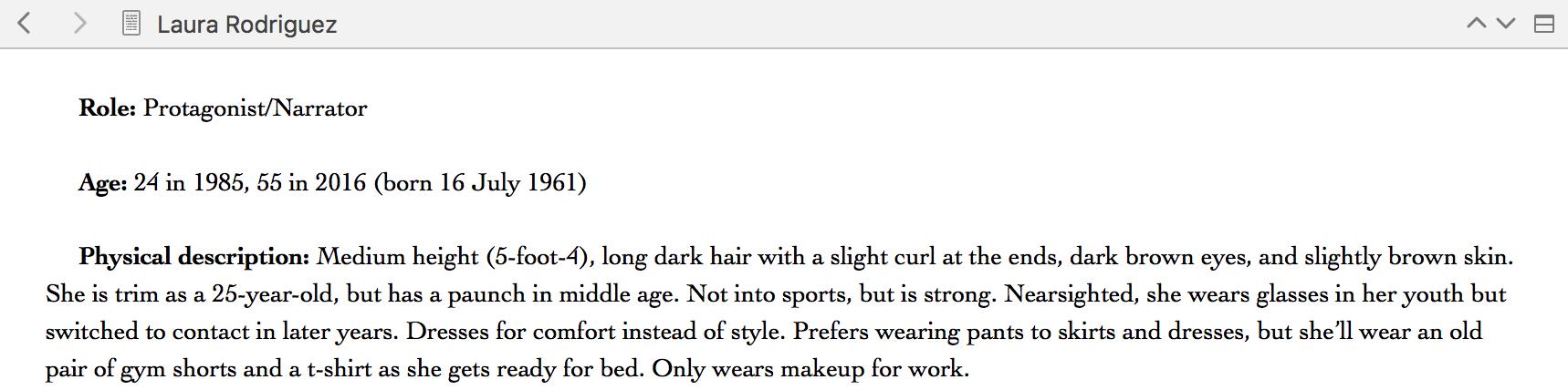 Sample of a character description in Scrivener