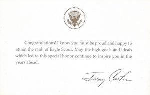 Eagle Scout congratulations from President Jimmy Carter