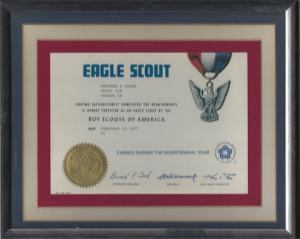 My Eagle Scout Award Certificate