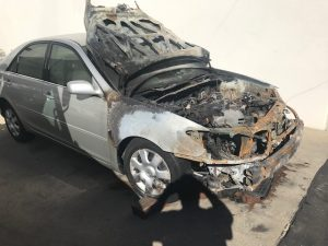The remains of our 2003 Toyota Camry after the fire