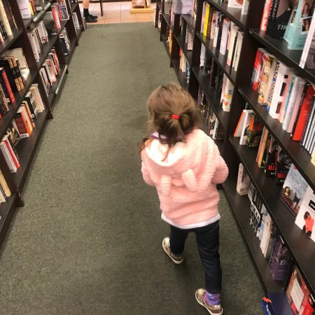 Granddaughter at bookstore