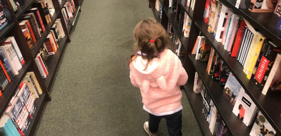 Granddaughter at bookstore