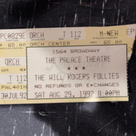 Ticket stub from Will Rogers Follies 1992