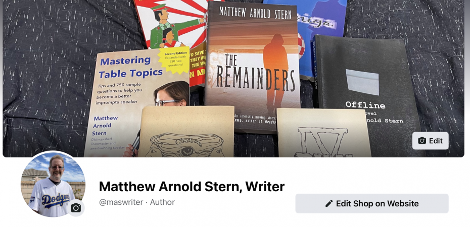 Masthead of my Facebook author page